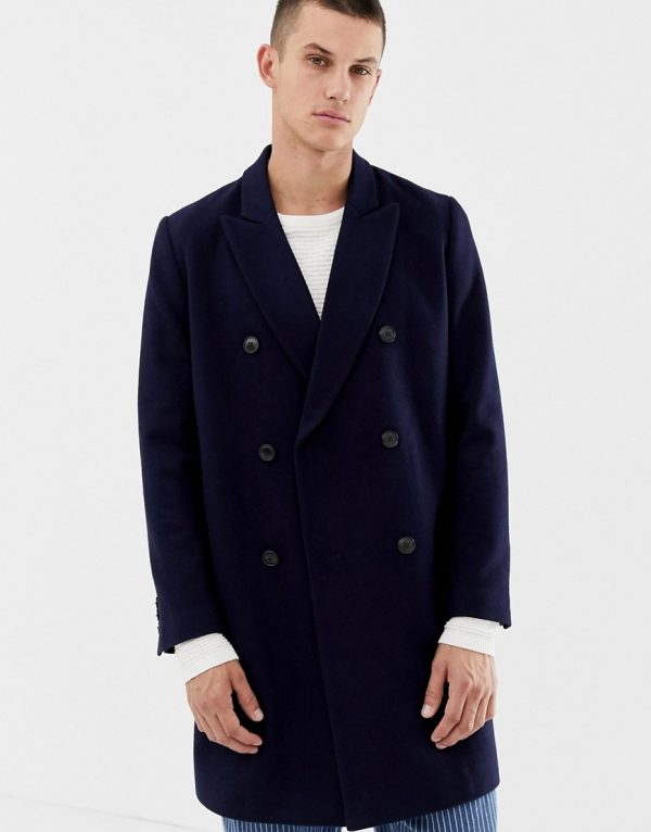 ASOS DESIGN wool mix double breasted overcoat in navy - Navy