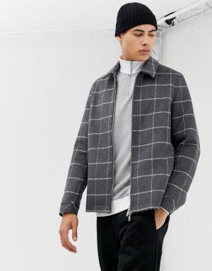 ASOS DESIGN wool mix zip through jacket with window pane check - Gray