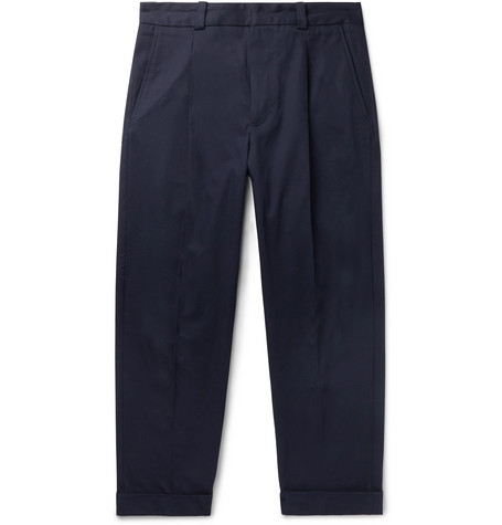 Acne Studios - Cropped Pierre Pleated Stretch-Cotton Trousers - Men - Navy
