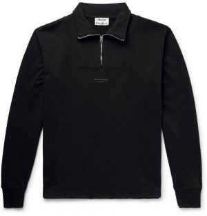 Acne Studios - Faraz Logo-Print Loopback Cotton-Jersey Half-Zip Sweatshirt - Men - Black