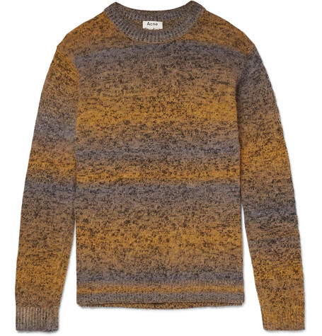Acne Studios - Kamal Space-Dyed Striped Mélange Knitted Sweater - Men - Yellow