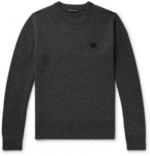 Acne Studios - Nalon Appliquéd Mélange Wool Sweater - Men - Charcoal
