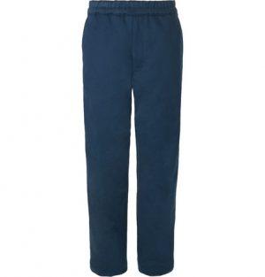 Acne Studios - Wide-Leg Cotton-Twill Drawstring Trousers - Men - Storm blue