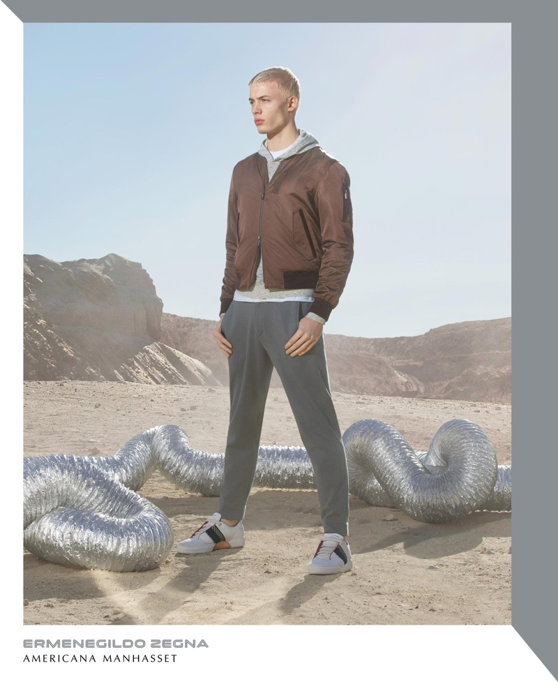 Taking to the desert, João Knorr wears Ermenegildo Zegna.