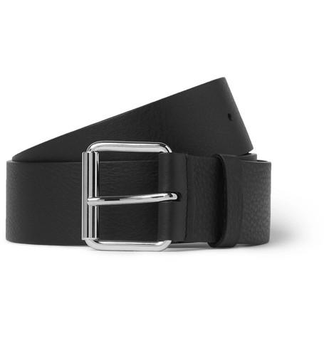 Balenciaga - 4cm Black Logo-Print Full-Grain Leather Belt - Men - Black