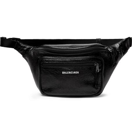 Balenciaga - Arena Creased-Leather Belt Bag - Men - Black