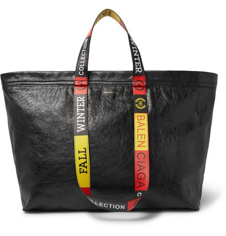 Balenciaga - Arena Medium Creased-Leather Tote Bag - Men - Black