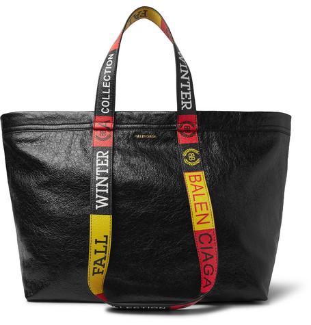 Balenciaga - Arena Small Creased-Leather Tote Bag - Men - Black