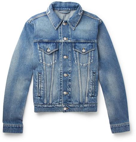 Balenciaga - Cropped Embroidered Distressed Denim Jacket - Men - Indigo