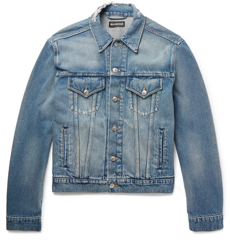 Balenciaga - Cropped Embroidered Distressed Denim Jacket - Men - Mid denim