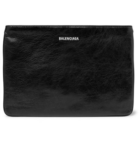 Balenciaga - Explorer Creased-Leather Pouch - Men - Black