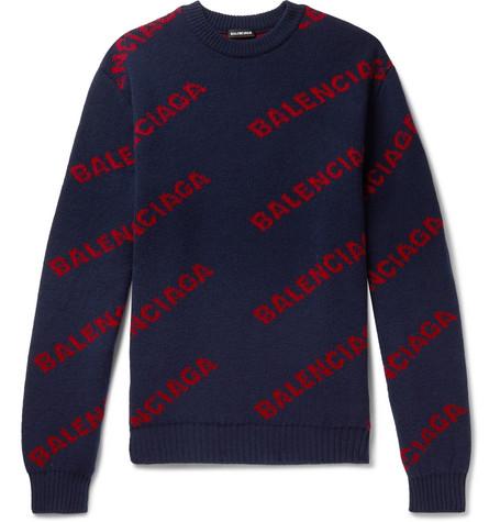 Balenciaga - Logo-Intarsia Virgin Wool-Blend Sweater - Men - Navy