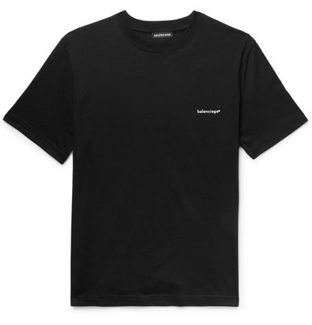 6ac6d37beacd Balenciaga – Logo-Print Cotton-Jersey T-Shirt – Men – Black | The ...