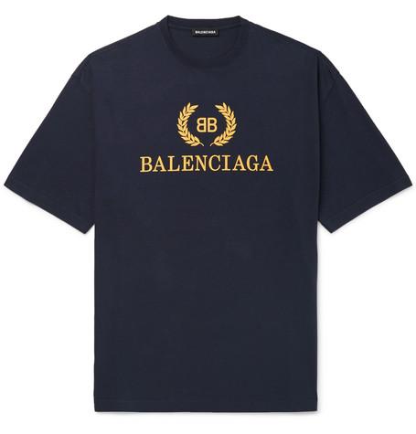 Balenciaga - Logo-Print Cotton-Jersey T-Shirt - Men - Navy