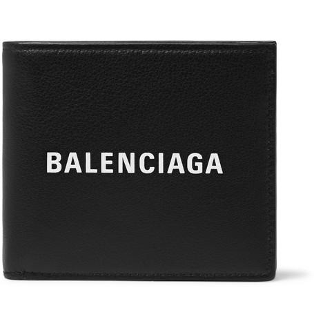 Balenciaga - Logo-Print Full-Grain Leather Billfold Wallet - Men - Black