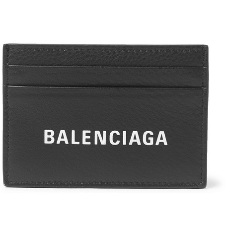 Balenciaga - Logo-Print Full-Grain Leather Cardholder - Men - Black