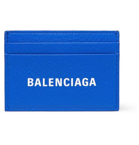 Balenciaga - Logo-Print Full-Grain Leather Cardholder - Men - Blue