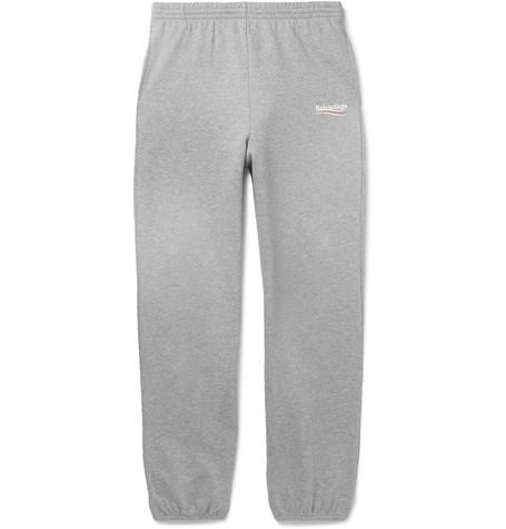 Balenciaga - Logo-Print Mélange Loopback Cotton-Jersey Sweatpants - Men - Gray