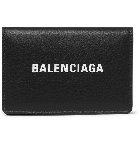 Balenciaga - Logo-Print Textured-Leather Bifold Cardholder - Men - Black