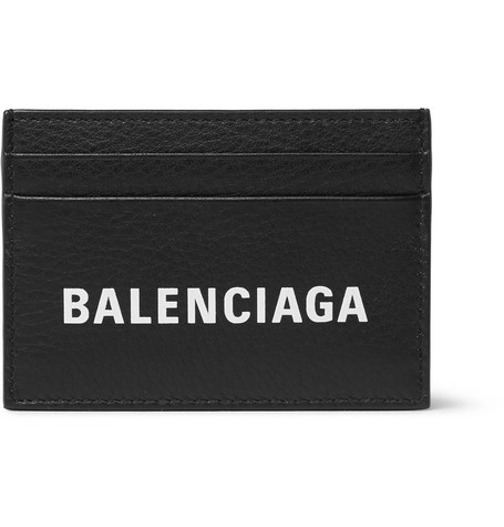 Balenciaga - Logo-Print Textured-Leather Cardholder - Men - Black