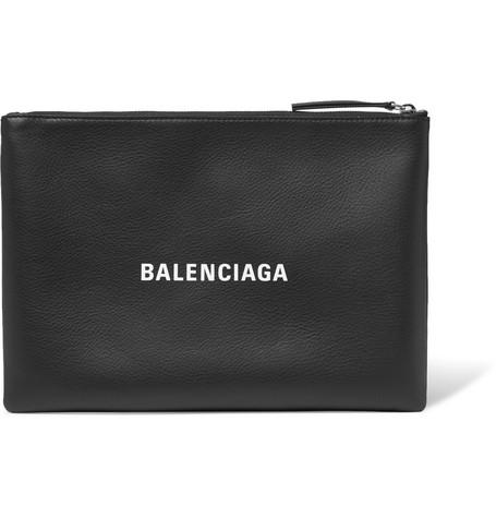 Balenciaga - Logo-Print Textured-Leather Pouch - Men - Black