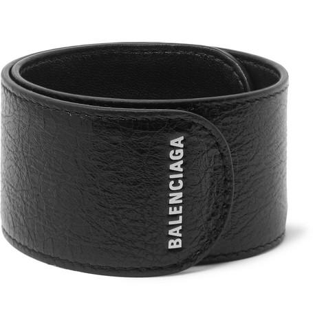 Balenciaga - Logo-Print Textured-Leather Snap Bracelet - Men - Black