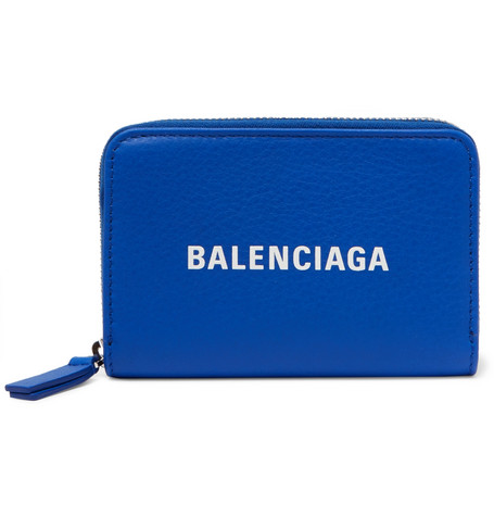 Balenciaga - Logo-Print Textured-Leather Zip-Around Wallet - Men - Blue