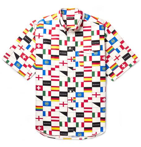 Balenciaga - Oversized Button-Down Collar Printed Cotton-Poplin Shirt - Men - Multi