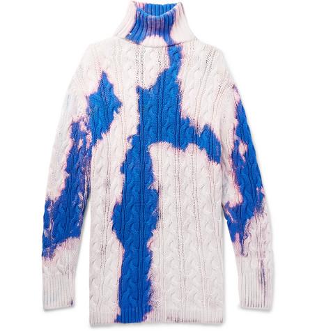 Balenciaga - Oversized Cable-Knit Cotton Rollneck Sweater - Men - White