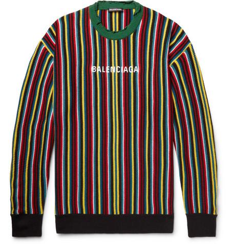 Balenciaga - Oversized Distressed Logo-Intarsia Virgin Wool-Blend Sweater - Men - Multi