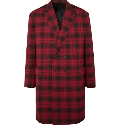 Balenciaga - Oversized Double-Breasted Checked Woven Coat - Men - Red