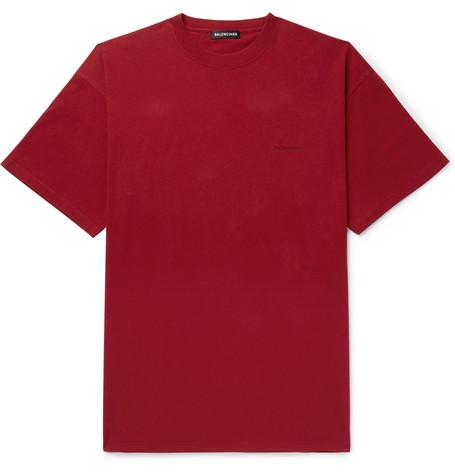 Balenciaga - Oversized Logo-Print Cotton-Jersey T-Shirt - Men - Burgundy