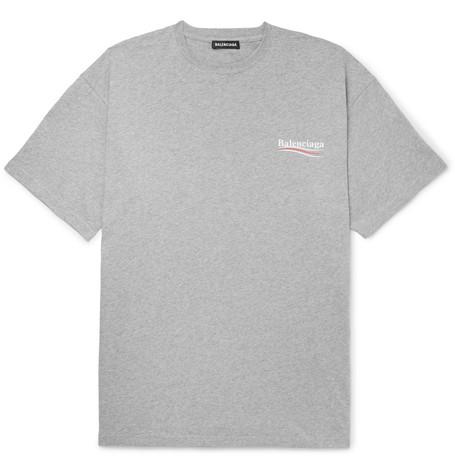 Balenciaga - Oversized Logo-Print Mélange Cotton-Jersey T-Shirt - Men - Gray