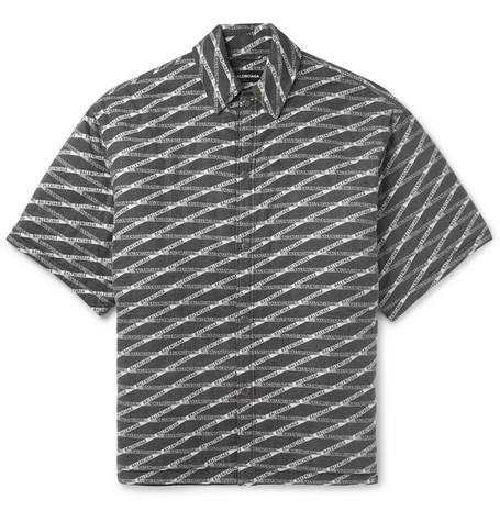 Balenciaga - Oversized Logo-Print Padded Brushed-Cotton Overshirt - Men - Black