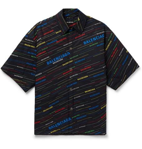 Balenciaga - Oversized Padded Logo-Print Cotton-Poplin Shirt - Men - Black