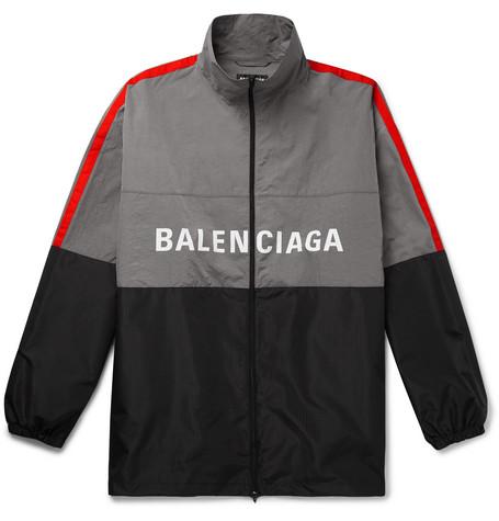 Balenciaga - Oversized Striped Logo-Print Ripstop and Shell Jacket - Men - Gray