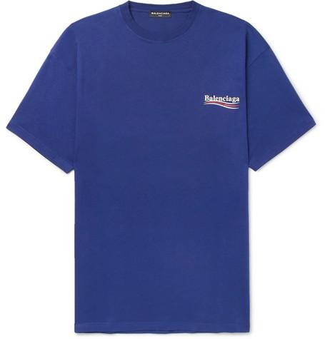 Balenciaga - Printed Cotton-Jersey T-Shirt - Men - Blue