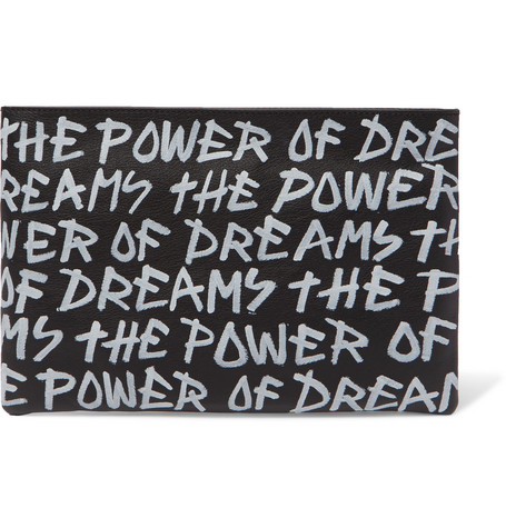 Balenciaga - Printed Full-Grain Leather Pouch - Men - Black