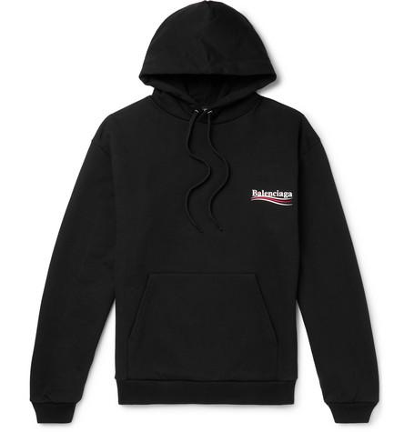 Balenciaga - Printed Loopback Cotton-Jersey Hoodie - Men - Black