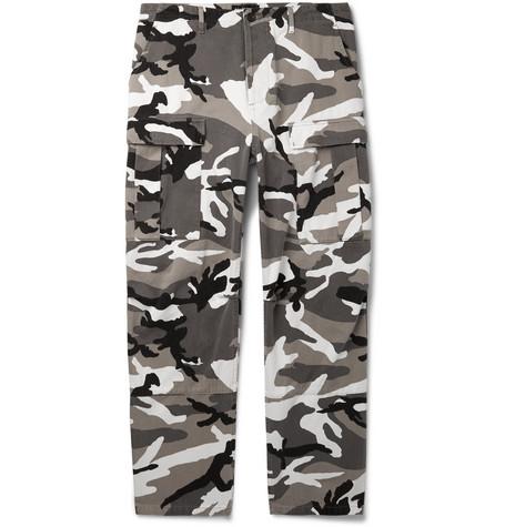 Balenciaga - Slim-Fit Camouflage-Print Cotton-Twill Cargo Trousers - Men - Gray