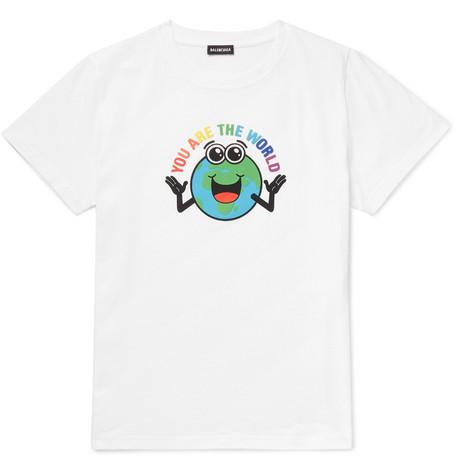 Balenciaga - Slim-Fit Printed Cotton-Jersey T-Shirt - Men - White