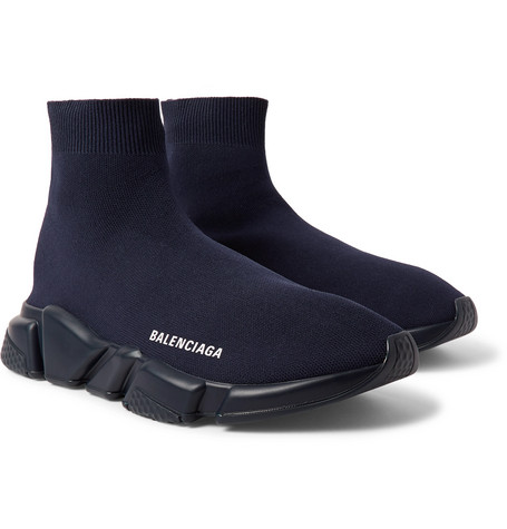 Balenciaga - Speed Sock Stretch-Knit Slip-On Sneakers - Men - Midnight blue