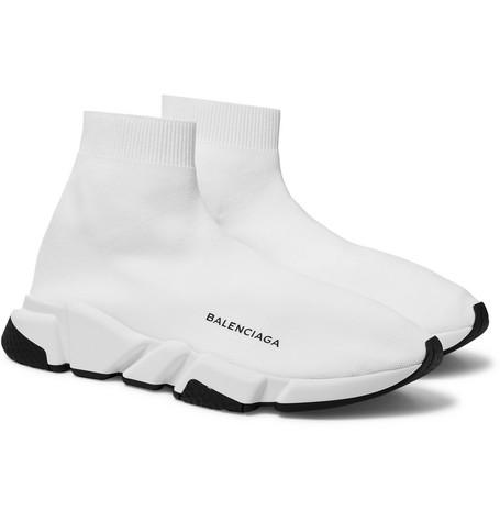 Balenciaga - Speed Sock Stretch-Knit Slip-On Sneakers - Men - White