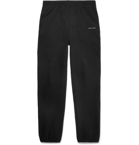 Balenciaga - Tapered Logo-Print Fleece-Back Cotton-Jersey Sweatpants - Men - Black