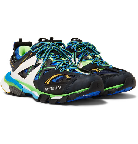 Balenciaga - Track Leather, Mesh and Rubber Sneakers - Men - Blue