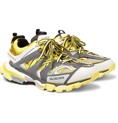 Balenciaga - Track Leather, Mesh and Rubber Sneakers - Men - Yellow