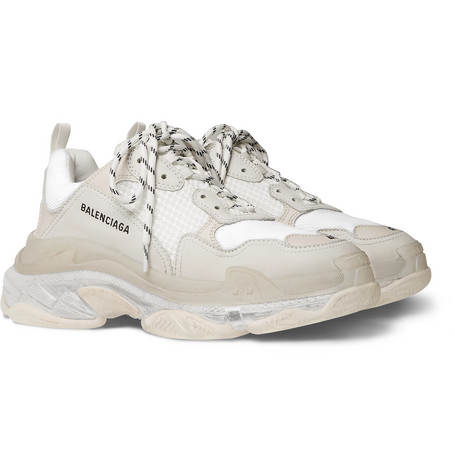 Balenciaga - Triple S Clear Sole Mesh, Nubuck and Leather Sneakers - Men - White