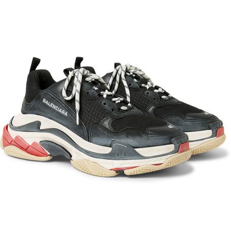 Balenciaga - Triple S Mesh, Nubuck and Leather Sneakers - Men - Black