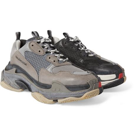 Balenciaga - Triple S Mesh, Nubuck and Leather Sneakers - Men - Gray