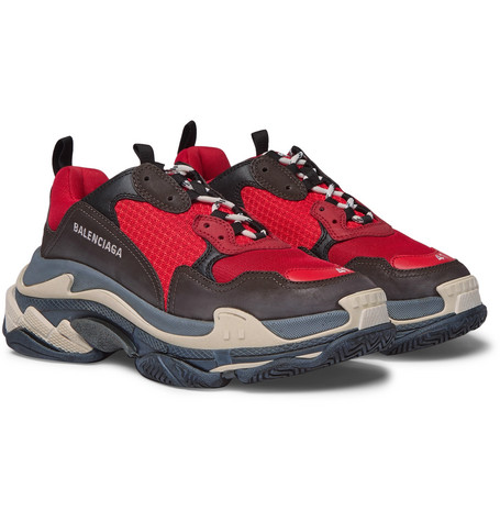 Balenciaga - Triple S Mesh, Nubuck and Leather Sneakers - Men - Red